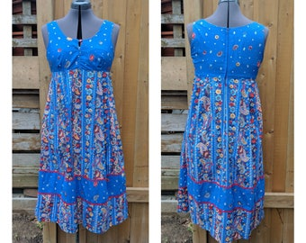 Vintage 1970's FASHION III Blue Empire Waist Babydoll Shape With Red, Teal and Yellow Flowers Sleeveless Summer Dress
