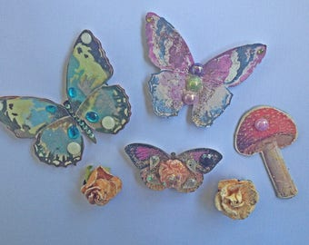 butterfly magnets, magnet set, flower magnets