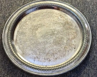 Vintage Silverplate Wm Rogers 172 Round Serving Platter 15 inch diameter Tarnished Aged Patina Filigree Cutouts Silver Serving Platter