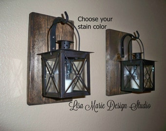 Rustic Bathroom Decor Rustic Home Decor Wrought Iron Lantern Set Wall Sconce