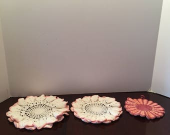Pink and White Doilies ~ Set of Three~ Round Doily ~ Ruffled Edge ~ Vintage