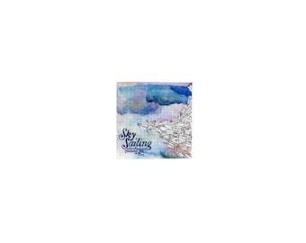 Original Miniature painting of Sky Sailing tiny painting, Sky Sailing tiny art 5 x 5