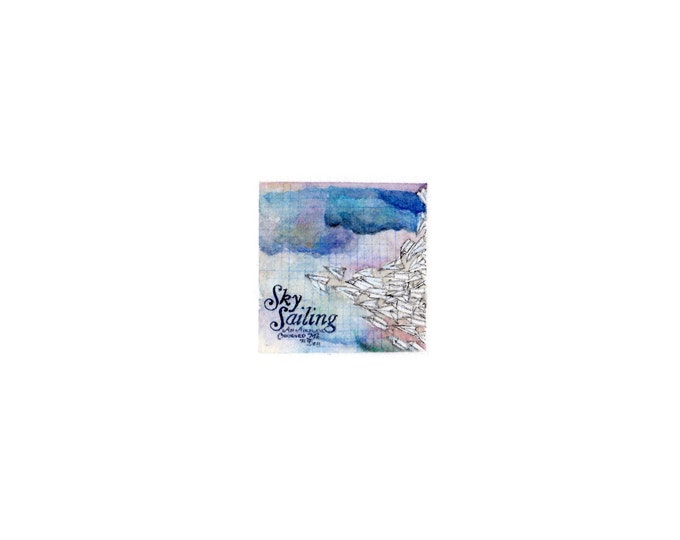 Original Miniature painting of Sky Sailing tiny painting, Sky Sailing tiny art 5 x 5