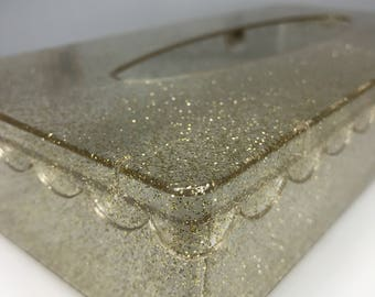 vintage lucite and gold glitter tissue box holder