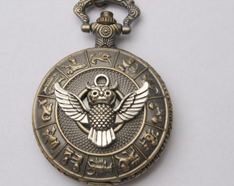 Steampunk pocket WATCH,Ancient silver the Owl Pocket Watch Necklace Vintage Pocket Watch