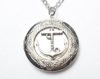 Anchor Locket Necklace,anchor Silver Anchor Locket Pendant, Nautical Locket Necklace,nautical Wedding