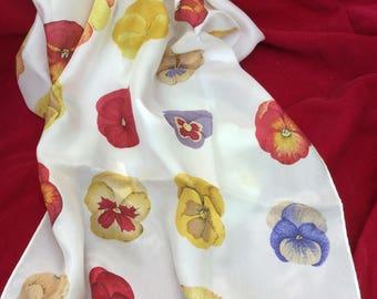 Silk Scarf long, Summer Floral white Pansies