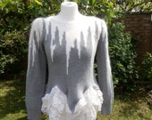 Upcycled Sweater Winter Spell UK size 8  10  US size 4  6  Grey Gray Fluffy Knit Icicle Snow Print Top  Lace Ruffle Tutu Skirt