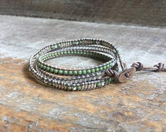 Daisy Beaded Wrap Bracelet