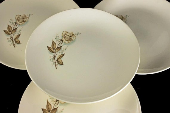 Mount Clemens, Bread and Butter Plates, Brown Rose, Hard to Find Pattern, Floral Pattern, Set of 4
