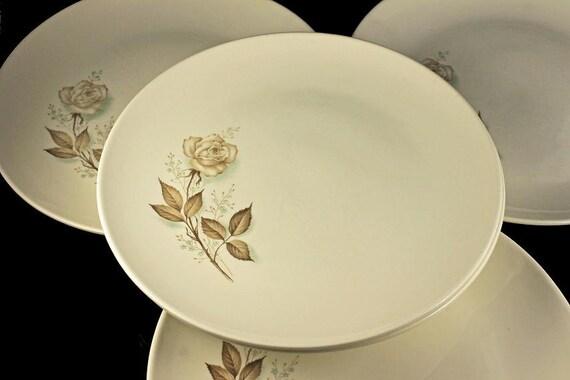 Mount Clemens, Dinner Plates, Brown Rose, Hard to Find Pattern, Floral Pattern, Set of 5