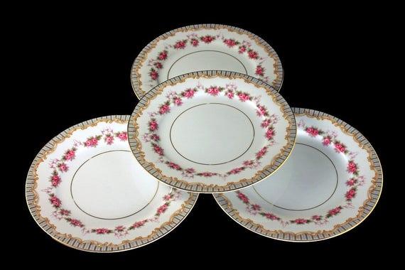 Noritake Plates, Bread and Butter Plates, Ridgewood Pattern, Floral Design, Rose Swag Design, Set of 4