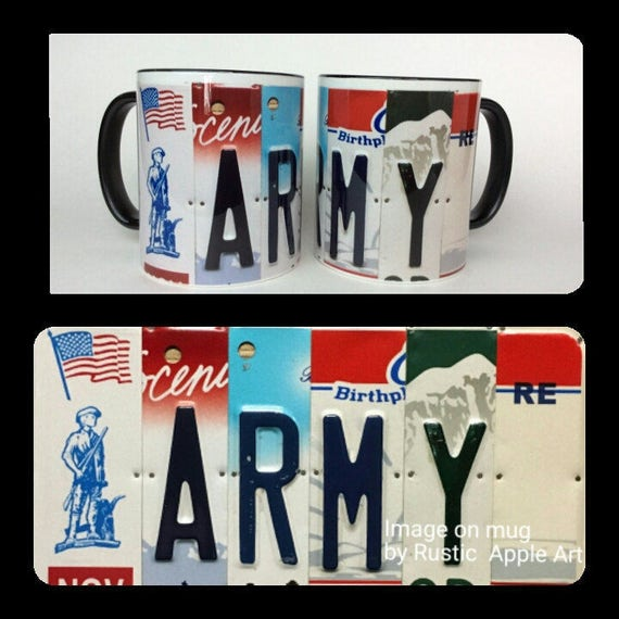 Army Gift || Army Mug || US Army Mug || Unique Mug || License Plate Art Image on Coffee Mug || Unique Gift || Military
