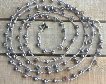Boho crochet necklace, long beaded crochet necklace - freshwater pearls - shades of purple & gray,  sparkly, wrap necklace, crochet  jewelry