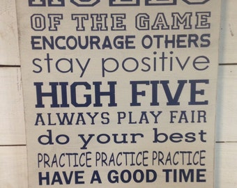 Sports rules.Rules of the game. Painted wood sign. Sports theme boy room. Boy nursery. Sports