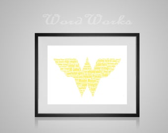 "Personalised Wonder Woman Word Art **Buy 3 prints get the 4th FREE**  Use coupon code "" MYFREEONE """