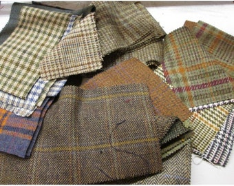 Tweed Fabric Remnant Random Pieces Sizes and Tweeds - 1KG Bag