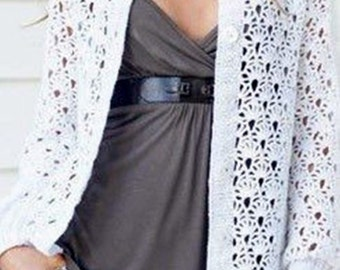 Mesdames  crochet cardigan en blanc / custom
