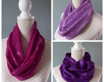 Soft sequin loop scarf, pink cowl, mauve cowl, purple cowl, glamour loop scarf with soft sequins