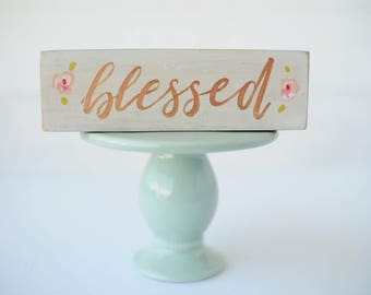 hostess gift - blessed wood sign - small thank you gift - bridesmaid gift - rustic chic wood sign - mini wood sign - wholesale home decor