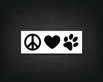 Peace Love Pawprint Decal - Vinyl Decal, Laptop Decal, Car Sticker