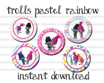 Instant Download - Trolls Pastel Rainbow Bottle Cap Image Sheet