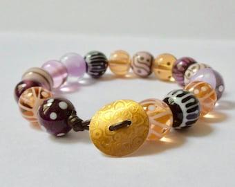 glass Lampwork Bead Bracelet.