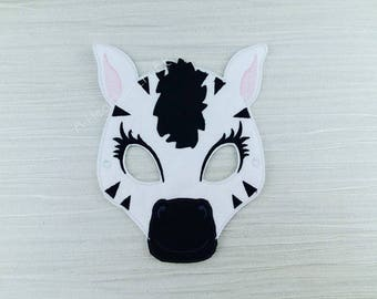 Zebra Mask - Felt Zebra Mask - Zoo Animal Mask - Zebra Costume Mask - Face Mask - Zebra Party Favor - African Mask - Felt Jungle Mask