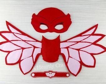 Owl Wings - Felt Wings - Red PJ Mask Wings & Bracelet Set - Owlette Party - Owlette Wings - Owlette Costume - PJ Masks Party - Halloween
