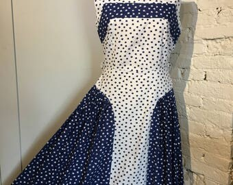 Original 1950s-1960s Lucky Clover Print Cotton Dress, UK14.