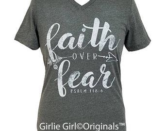 Girlie Girl Originals Faith Over Fear Deep Heather V-Neck Bella Canvas Short Sleeve T-Shirt