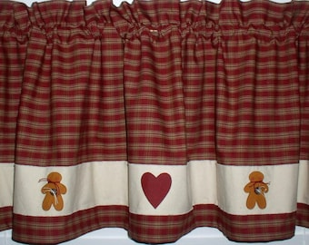 Hearts 'n Gingerbread Homespun Valance Tiers Runner Hand Painted Primitive Country Curtains Christmas Valentines Day Home Decor Cotton Goods