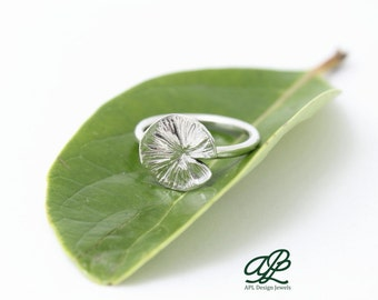 Small leaf ring water lily/ loto sterling silver