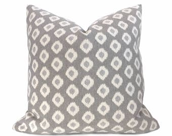 Gray Cream Ikat Dots Pillow Cover For 20x20 Inserts