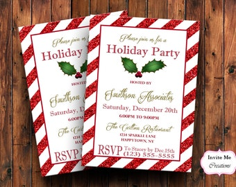 Christmas Party Invitation, Holiday Party Invitation, Christmas Invite, Candy Cane Invitation, Holly Invite, Christmas Invitations, Santa