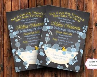 Rubber Ducky Invitation, Baby Shower Ducky Invite, Bath Bubbles Duck, Yellow, Chalkboard, Gender Neutral, Boy or Girl, Personalized, Bubbles