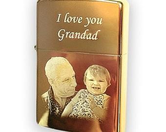 Genuine Brass Zippo lighter Photo & text engraved