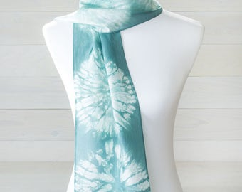 Turquoise Shibori Silk Scarf