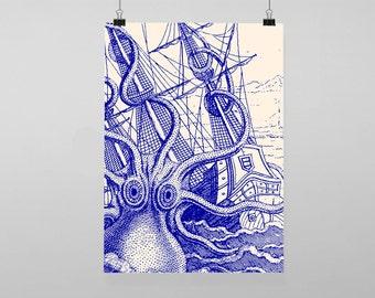Blue octopus kraken nautical - Vintage Reproduction Wall Art Decro Decor Poster Print Any size