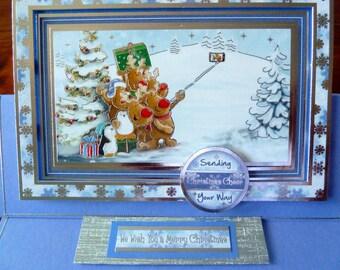 "Fun 3D Christmas Card, Handmade Easel Christmas Card, Cute 5x7"" Holiday Card, Penguin Card, Reindeer Card, Paper Handmade Greeting Card"