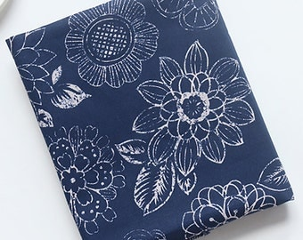Cotton Canvas Fabric, Upholstery Fabric, Heavy weight, Dahlias Pattern, Navy color - 1/2 Yard
