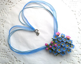 Forget me not necklace. Clay flower pendant. Porcelain flower jewelry. Floral pendant.