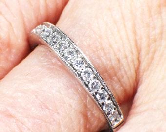 Vintage Diamond Wedding Band 14k White Gold Wedding Ring Diamond Wedding Band Diamond Wedding Ring Diamond Band Size 7.5