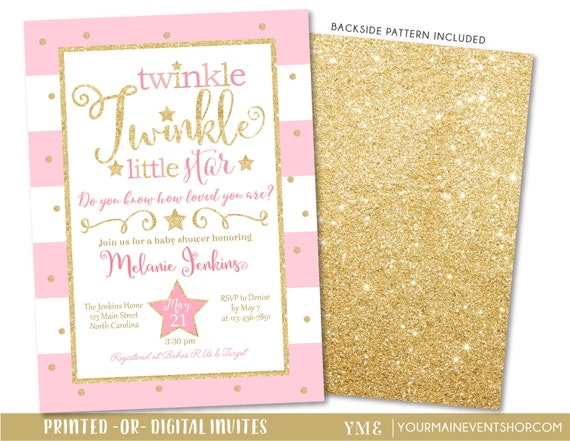 Twinkle Twinkle Little Star Baby Shower Invitation, Twinkle Twinkle Little Star Invite, Pink and Gold Star Invite, Baby Girl • BS-T-01
