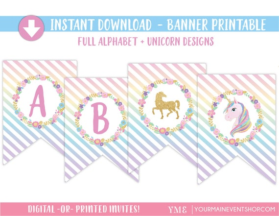 Unicorn Party Printable Banner • Unicorn Birthday Party Banner Instant Download