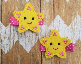 Starfish hair clips, starfish hair clippies, toddler hair clips, baby bows, hair clippies set, starfish hair bows, starfish clips, ocean