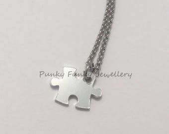 Jigsaw puzzle piece necklace - jigsaw pendant - jigsaw jewellery - puzzle jewellery - couples gift - best friend necklace - cute gift