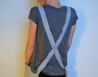 Linen Apron; Cross Back Japanese Apron in Grey