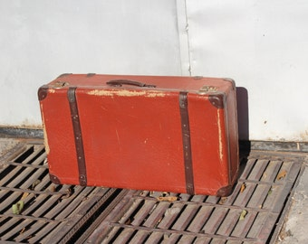 Vintage suitcase - Big size suitcase - Old luggages - Cardboard train case  - 1940s suitcase - Antique suitcase - Vintage luggage