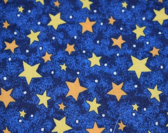 """10 - 5""""x5"""" Quilting Squares, Midnight Blue, Yellow Star Fabric, Star Fabric, Quilting Fabric, Fabric"""